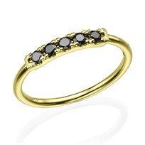 טבעת יהלומים שחורים 0.20 קראט זהב צהוב