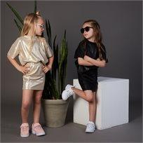 חליפת ORO לילדות (מידות 2-8 שנים) שחור מבריק