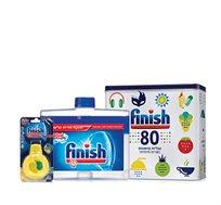 ערכת פיניש למדיח הכוללת מארז טבליות, מנקה מדיח ומפיץ ריח