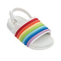 Mini Melissa סנדל שטוח(מידות 30-19) - לבן פסים צבעוניים