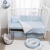 סט מצעים למיטת תינוק,  תכלת כוכבים - מיננה