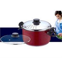 קלי קלות! סיר פסטה איכותי מנירוסטה כולל 2 מכסים לבישול קל ונוח של פסטה, מתאים לכל סוגי הכיריים