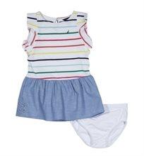 Nautica /שמלה (12-1 שנים) - לבן שילוב ג'ינס