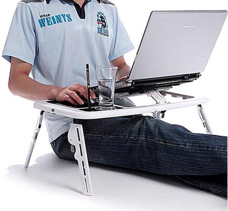 מעולה  מושלם לכל מחשב נייד! שולחן מתקפל ונייד בעל משטח קירור עם 2 VX-23