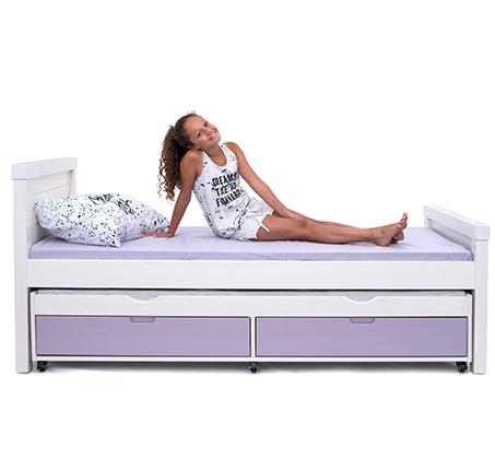 מיטה דגם נוגה עשויה עץ מלא עם ידיות אינטגרליות במגוון צבעים לבחירה HIGHWOOD - תמונה 3