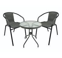 מערכת ישיבה לחצר ולמרפסת הכולל שולחן וזוג כסאות ראטן משולב מתכת