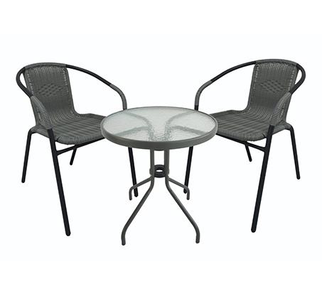 סט ישיבה לגינה הכולל זוג כסאות ושולחן