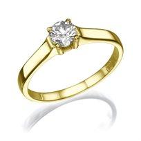 """טבעת אירוסין זהב צהוב """"זואי"""" 0.31 קראט"""