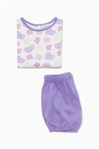 פיג'מה קצרה מבד כותנה לתינוקות וילדות עם תבנית של חיות בצבעי לבן סגול