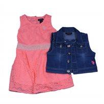 Us Polo יו אס פולו (12-3 שנים) שמלה תחרה אפרסק עם ג'קט ג'ינס