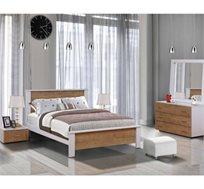 חדר שינה קומפלט עשוי עץ דגם אורן הכולל מיטה זוגית, שתי שידות, קומודה ומראה