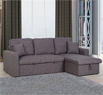 ספה פינתית בעיצוב מודרני מרופדת בצבע אפור נפתחת למיטה דגם מטרו VITORIO DIVANI