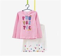 מארז 2 חולצות שרוולים ארוכים עם הדפס מנצנץ OVS לילדות בצבעי ורוד ולבן