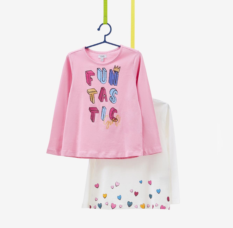 מארז 2 חולצות OVS לילדות - ורוד ולבן
