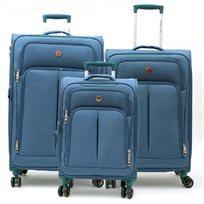 Swiss Travel Club - סט 3 מזוודות 109 מבד בצבע כחול