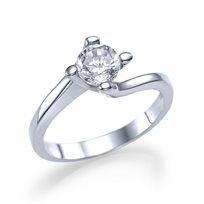 """טבעת אירוסין זהב לבן """"אוולין"""" 0.41 קראט בשיבוץ העוטף את היהלום"""