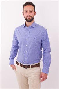 חולצה מכופתרת תכלת משבצות SLIM FIT EASY CARE לוגו כחול POLO RALPH LAUREN