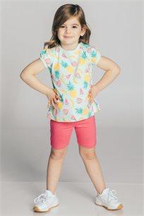 חליפת טריקו בהדפס פירות לבנות Kiwi בצבע מנטה/ורוד