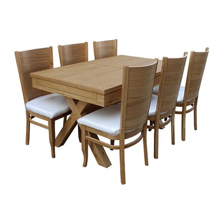 שולחן מלבני מעץ אלון מלא הניתן להארכה מגיע עם 6 כיסאות
