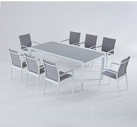 סט גינה מפואר שולחן נפתח עם 6 כסאות לגינה מאלומיניום