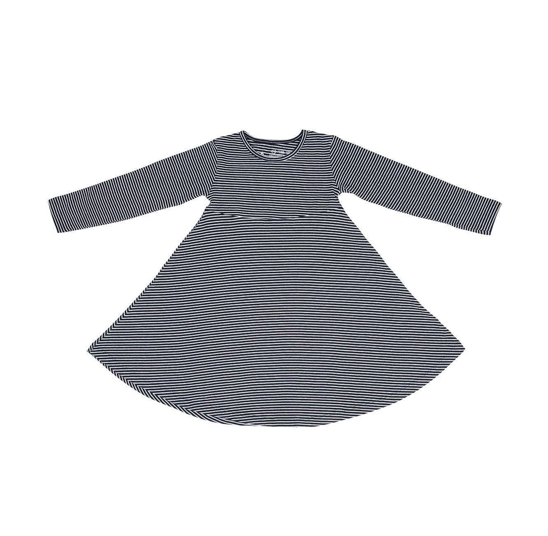שמלת ג'רזי מסתובבת - פסים דקים כחול לבן
