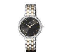 שעון יד אנלוגי לאישה Q&Q ומעוטר באבנים בצבע זהב וכסף