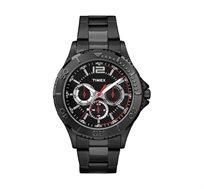 שעון יד Multifunction לגבר עם תאורה TIMEX עשוי פלדת אל חלד מושחרת ועמיד במים עד 50M
