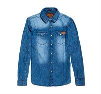 חולצת ג'ינס מכופתרת Superdry Resurrection לגברים בגוון כחול
