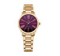 שעון יד עם זכוכית ספיר ולוח בורדו אופנתי לנשים בצבע רוזגולד