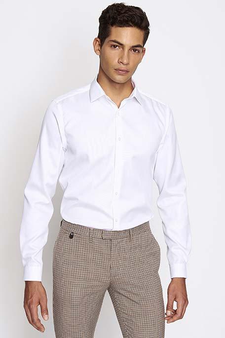 חולצת אריג מכופתרת לגבר DEVRED - לבן