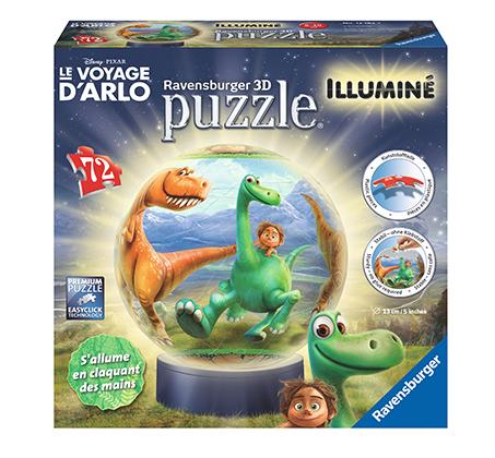 פאזל תלת מימד בצורת כדור עם דמות ילד ודינוזאור המכיל 72 חלקים Ravensburger  - משלוח חינם