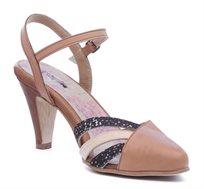 נעלי עקב מעור דגם לידס צבע קאמל