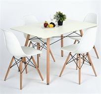 פינת אוכל דגם לונדון לבן הכוללת שולחן וארבעה כסאות בצבעים לבחירה