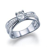 """טבעת אירוסין זהב לבן """"קמרון"""" 1.10 קראט F/Si1"""