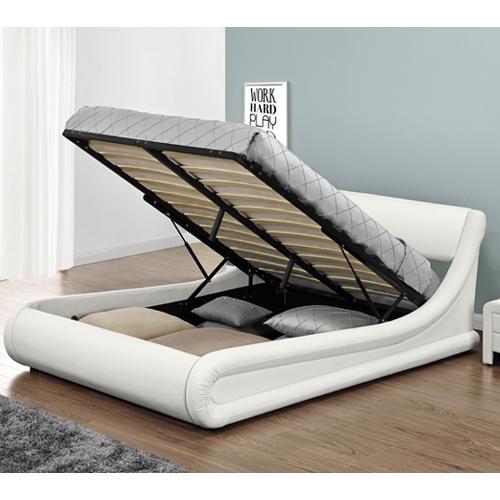 האופנה האופנתית מיטה זוגית מרופדת בעיצוב מעוגל עם ארגז מצעים HOME DECOR דגם LIAN ET-51