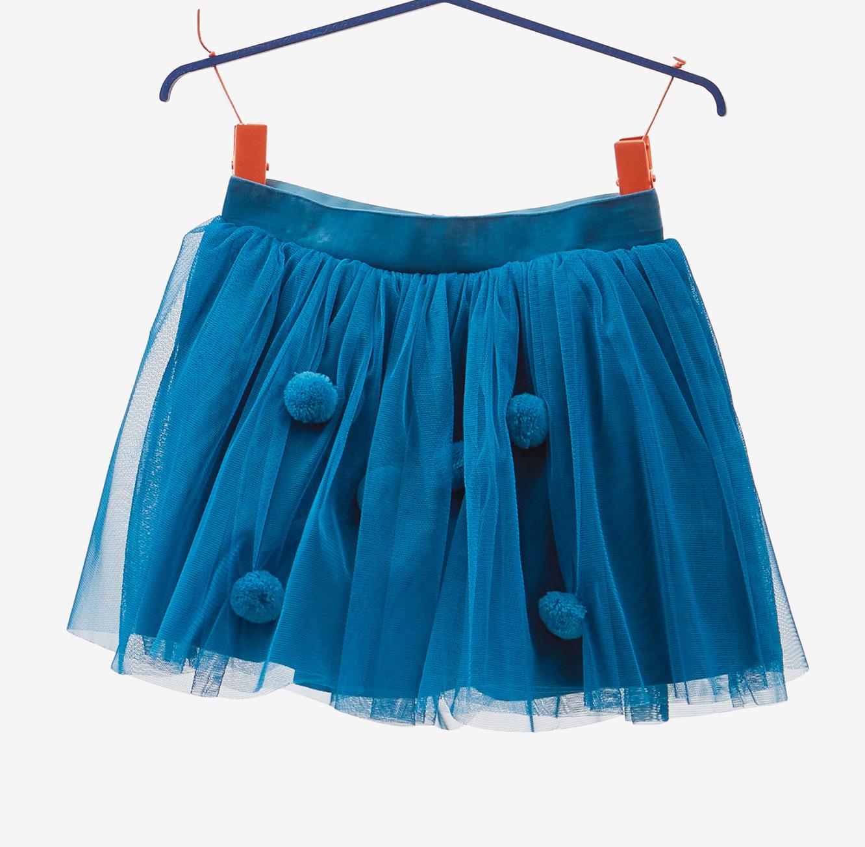 חצאית טול OVS לילדות - טורקיז עם פונפונים