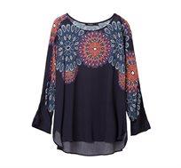 חולצת אוברסייז בהדפס מנדלה לנשים Desigual דגם Blassidy בצבע כחול כהה