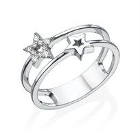 טבעת כוכבים עדינה זהב 14K משובצת יהלומים במשקל כולל של 0.10 נקודות