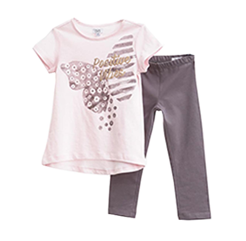 סט חולצה ומכנסיים OVS לילדות - צבעי ורוד ואפור עם הדפס פרפר