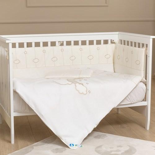 סט מצעי פרימיום 3 חלקים למיטת תינוק 100% כותנה - לונה אלגנט קרם
