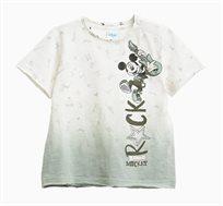 חולצה OVS קצרה לתינוקות וילדים עם הדפס מיקי מאוס - לבן/אפור