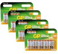 """10 סוללות GP ULTRA במארז של 4 יח סה""""כ 40 סוללות ב-₪59"""