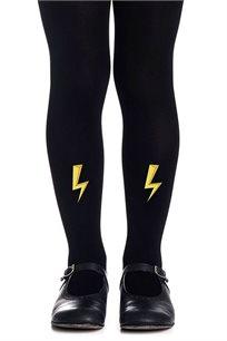 גרביון עם הדפס צהוב Lightning Strikes Girls - שחור