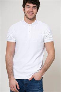 חולצת פולו עם לוגו לגברים - לבן