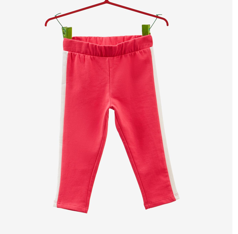 מכנסיים סטרצ'יות OVS לילדות - אדום עם פס בצדדים