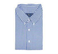 חולצה מכופתרת עם שרוול קצר לגבר POLO RALPH LAUREN מידות גדולות עם משבצות כחול לבן