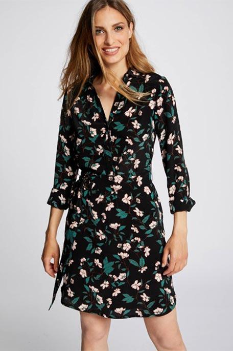 שמלת מעטפת פרחונית MORGAN -שחור