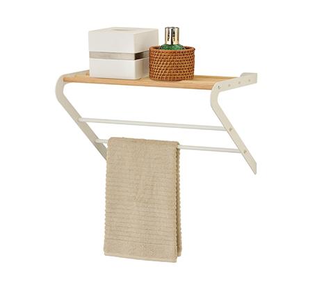 מדף לתליה בחדר האמבטיה עם מתלי מגבות MY HOME DESIGN
