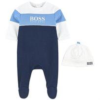 BOSS בוס אוברול תינוק (1-3 חודשים) - אוברול לבן כחול וכובע