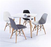 פינת אוכל מרובעת מודרנית וצעירה בשני צבעים לבחירה וארבעה כיסאות במגוון צבעים